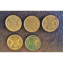 5 Monedas Marruecos De 10 Francos Año 1951