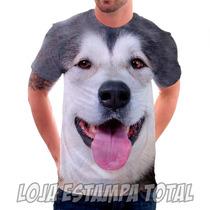 Camiseta Cachorro Husky - Camisa Estampa Total 3d
