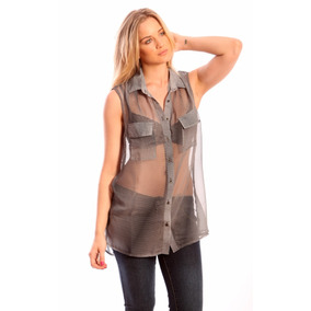 Camisa Camisola De Gasa Transparente Talles Grandes Valdivia