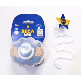 Chupete Boca + Portachupete + Prendedor Licencia Oficial
