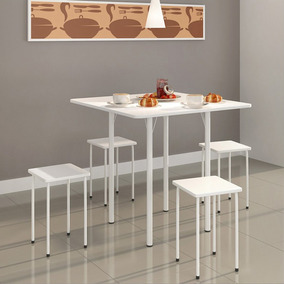 Kit Mesa Dobrável Com 4 Banquetas Md100 - Branco/branco
