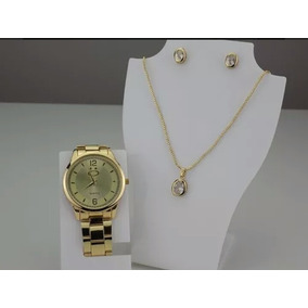 Kit Relógio Feminino Dourado Original+colar/brinco Barato