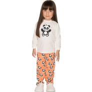 Pijama Bebê Menina Meia Malha Longo Inverno Urso Panda