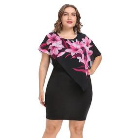 De Moda Ronda Collar Floral Capas Mujeres Bodycon Vestido