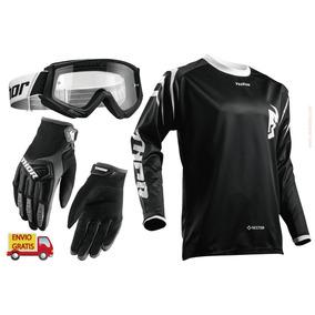 Combo Thor Negro Goggles, Jersey Y Guantes Moto Cross Enduro