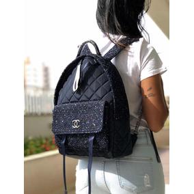 Mochila Chanel Tweed Nylon Astronaut Navy Blue - Original