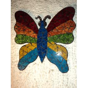 Mariposa En Vidrio De Color,