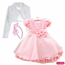 Vestido Infantil Princesa Peppa Gata Gatinha Marie E Bolero