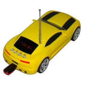Caixa De Som Carro Camaro Amarelo Portátil Mp3 Usb Sd E Rádi