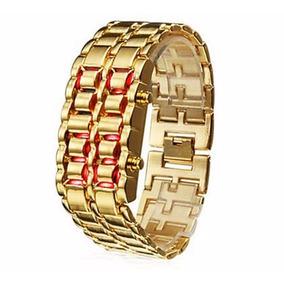 Relógio Led Iron Samurai Pulseira Dourada Led Vermelho