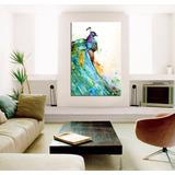 Cuadro Pavo Real Estilo Watercolor Ave Hermosa Animal 60x90