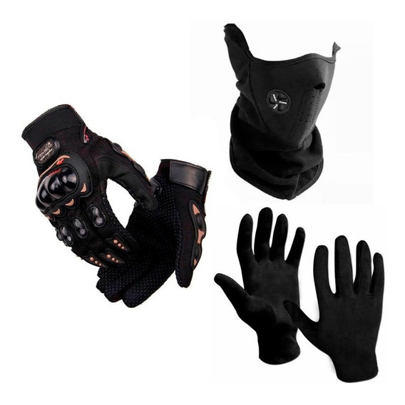 Cuello Mascara Respirador + 1ra Piel + Guantes Pro Biker Sti