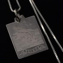 Corrente Prata Maciça 925 45 Cm Pingente Placa Signo Peixes