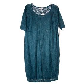 Vestido Corto Encaje Azul Petróleo Jessica Simpson Grande L