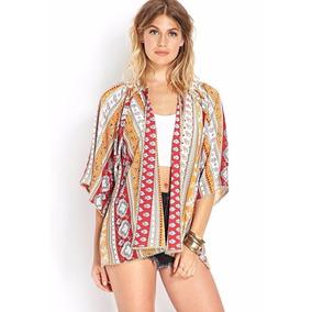 Kimono Cardigan Blusa Feminina Renda Etnico Crepe Estampado