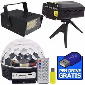 Kit Iluminação Festa Dj Balada Bola Maluca Led Strobo Laser