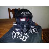 Casco Para Motocross Vf1 Negro Mate Marca Fox