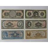 Colección 6 Billetes Mexicanos Antiguos Unc Mismo Folio Abnc