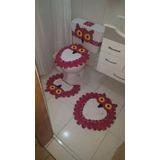 Tapete Jogo De Banheiro Coruja Em Crochê - 4 Peças