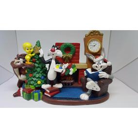 Relógio Mesa Cerâmica Personagens Looney Tunes Pintado À Mão