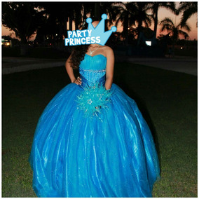 Vestido De Xv Años Azul Turquesa Talla Ch,m Ramo Grartis!!