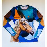 Camisa Proteção Solar Feminina Estampa Cavalo Azul