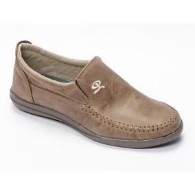 Zapato De Hombre Náutico Cuero Marrón