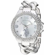 Reloj U.s.polo Assn. Metal Para Mujer Color Plata Usc40243az