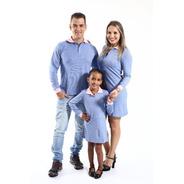 Kit Família Camisa Polo E Vestidos Manga Longa
