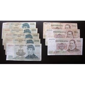 8 Billetes Chile De 500 Y 1000 Pesos Años 1990-2000