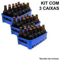 Kit 3 Caixas Engradado Cerveja 300ml P/ 15 Garrafas Aazul