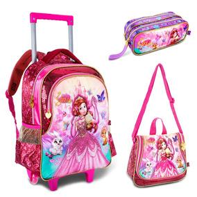 Kit Escolar Mochila Rodinhas Lancheira Estojo Princesa Yris