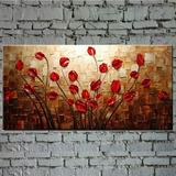 Cuadro Textura Espátula Flor Roja Pintura Al Óleo Abstracta