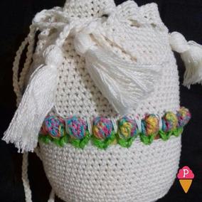 438815df7 Bolsa Saco De Croche Marrom - Bolsas Lavanda no Mercado Livre Brasil
