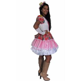 Vestido De Festa Junina Caipira Rosa E Branco Adulto + Luva