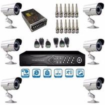 Kit Vigilância 6 Cam Infra Dvr 8 Canais Acesso A Internet