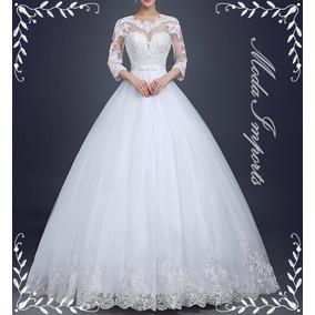 Vestido De Noiva Princesa Com Manga Ballet Pronta Entrega