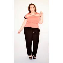 Calca Pantalona Plus Size Tm. Grande Feminin Cós Alto Até 50
