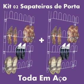 Kit 2 Sapateira Em Aço 24 Divisórias Porta E Parede Closet
