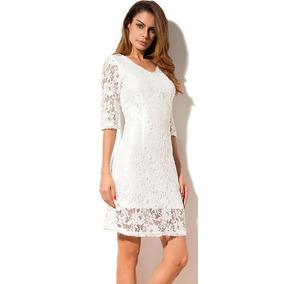 51b576cde Vestido Blanco Encaje Manga Larga - Vestuario y Calzado en Mercado ...