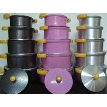 Jogo 5 Panela Aluminio Fundido Grosso 10mm Colorida Luxo