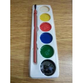 Acuarelas En Paleta 6 Colores Y Pincel Ofertón Niños Niñas