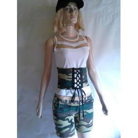 Fantasia Camuflada Militar Feminina Adulto M Leia Descrição
