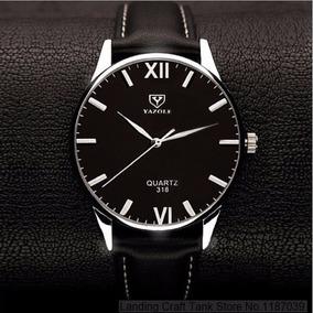 Relógio Masculino Prata Yazole Pulseira De Couro Barato N2