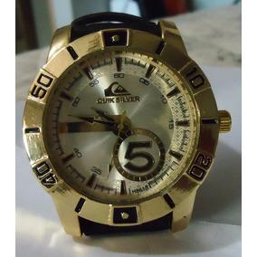 Relógio Quicksilver Scuba Prata Grande Pulseira Couro Preta