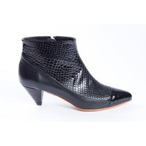 Natacha Zapato Mujer Bota En Punta Reptil Negro #671