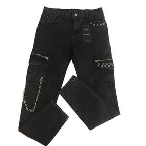 Jeans Tipo Cargo Negro Deslavado Rediseñado