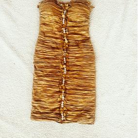 Vestido De Fiesta Strapless Dorado Nuevo S/m