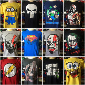 Lote Com 25 Camisetas De Personagens Atacado Revenda