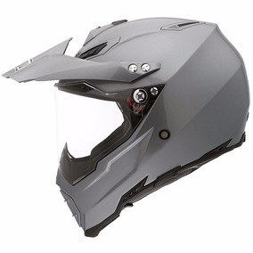 Capacete Agv Ax-8 Dual Evo Mono Com Viseira Titanium/prata